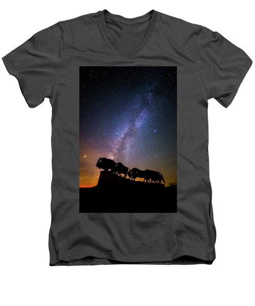 Men's V-Neck T-Shirt featuring the photograph Cosmic Caprock Bison by Stephen Stookey