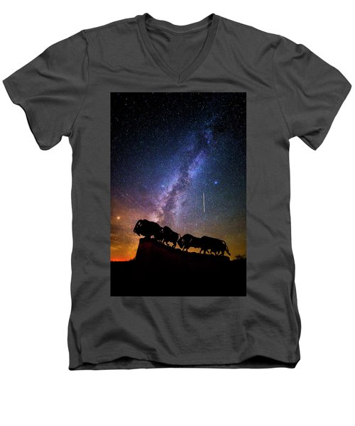 Men's V-Neck T-Shirt featuring the photograph Cosmic Caprock by Stephen Stookey