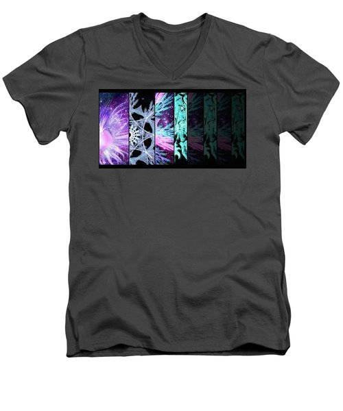 Men's V-Neck T-Shirt featuring the mixed media Cosmic Collage Mosaic Left Side Flipped by Shawn Dall