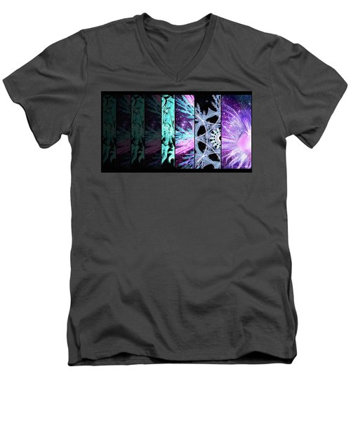 Men's V-Neck T-Shirt featuring the mixed media Cosmic Collage Mosaic Left Side by Shawn Dall