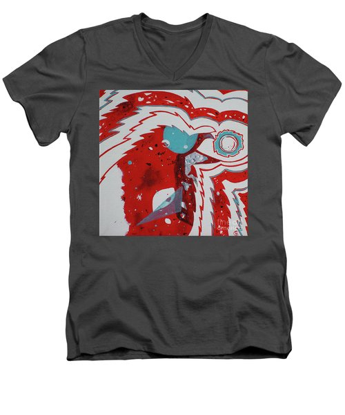 Men's V-Neck T-Shirt featuring the painting Cosmic Corvid by Cynthia Lagoudakis