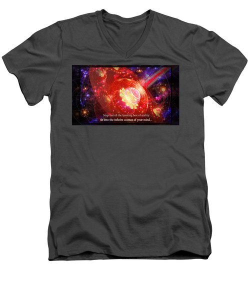 Men's V-Neck T-Shirt featuring the mixed media Cosmic Inspiration God Source by Shawn Dall