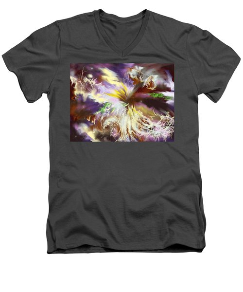 Men's V-Neck T-Shirt featuring the digital art The Flowering Of The Cosmos by Amyla Silverflame