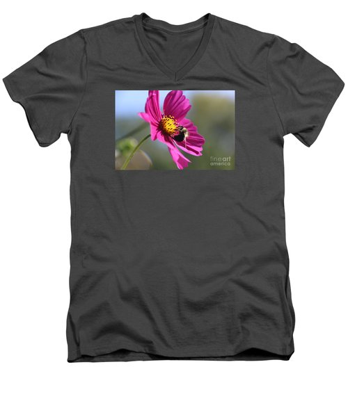 Cosmos With Bumblebee Men's V-Neck T-Shirt by Yumi Johnson
