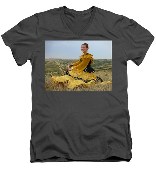 Cossack Young Lady Men's V-Neck T-Shirt