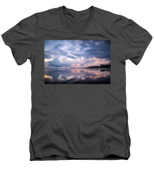 Men's V-Neck T-Shirt featuring the photograph Costa Rican Sunset by David Morefield