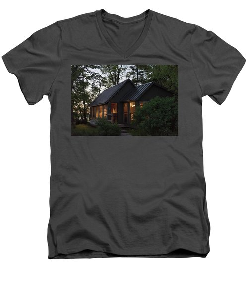 Men's V-Neck T-Shirt featuring the photograph Cosy Cabin In The Woods by Gary Eason
