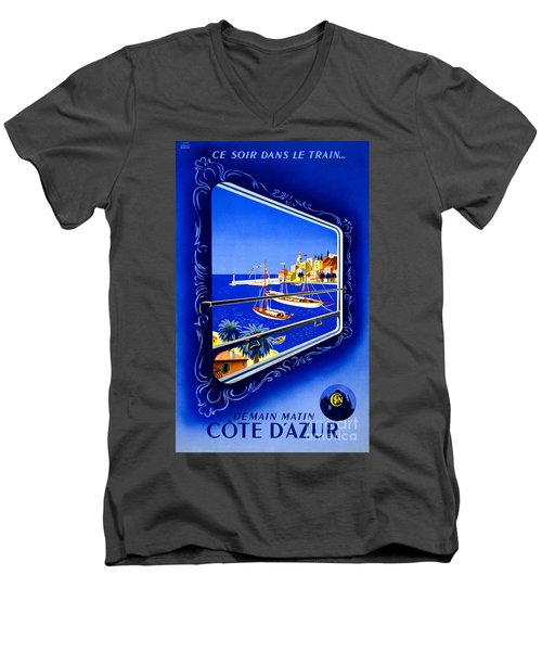 Cote D'azur Vintage Poster Restored Men's V-Neck T-Shirt