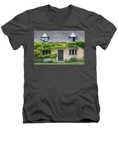 Men's V-Neck T-Shirt featuring the photograph Cotswolds Cottage Home II by Brian Jannsen