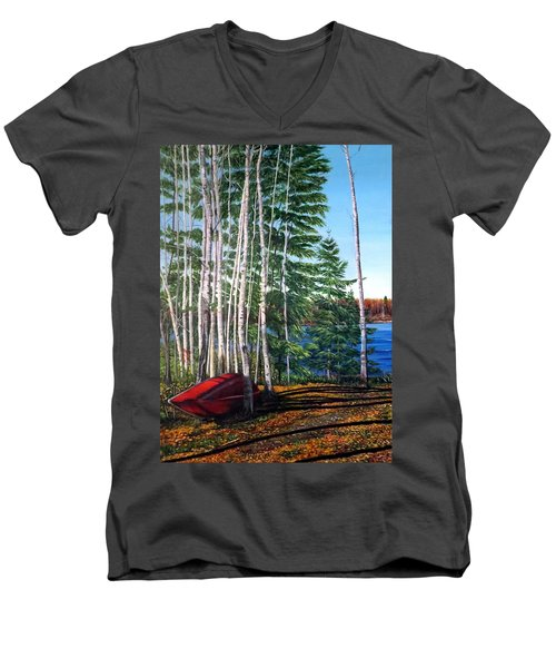 Cottage Country Men's V-Neck T-Shirt by Marilyn McNish
