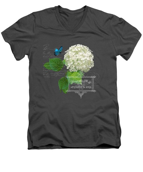Cottage Garden White Hydrangea With Blue Butterfly Men's V-Neck T-Shirt by Audrey Jeanne Roberts