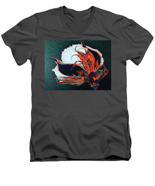 Cotton Boll Men's V-Neck T-Shirt