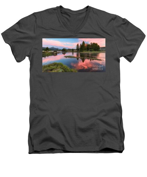 Men's V-Neck T-Shirt featuring the photograph Cotton Candy Skies by Vincent Bonafede