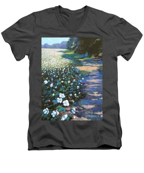 Cotton Field Men's V-Neck T-Shirt by Jeanette Jarmon