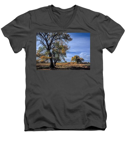 Cottonwood #5 Fall Ranch Colorado Blue Sky Men's V-Neck T-Shirt by John Brink