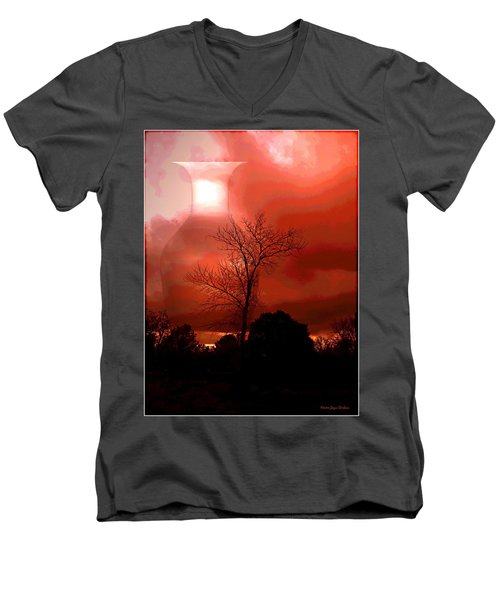 Men's V-Neck T-Shirt featuring the photograph Cottonwood Crimson Sunset by Joyce Dickens