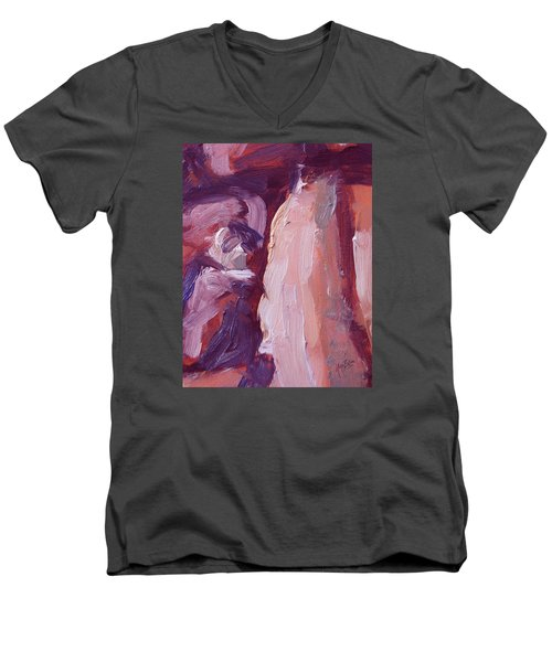 Couch Abstract In Red And Purple Men's V-Neck T-Shirt by Nop Briex