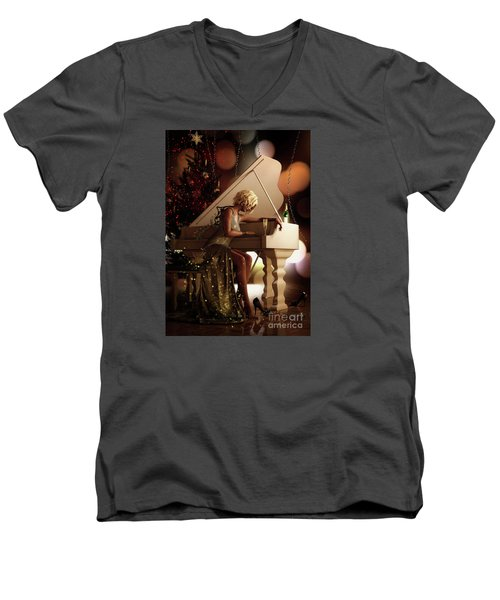Men's V-Neck T-Shirt featuring the digital art Counting Blessings by Shanina Conway