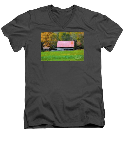 Country Autumn  Men's V-Neck T-Shirt by Marion Johnson