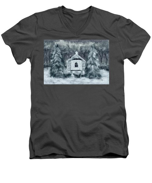 Men's V-Neck T-Shirt featuring the digital art Country Church On A Snowy Night by Lois Bryan