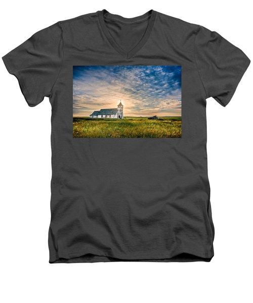Country Church Sunrise Men's V-Neck T-Shirt