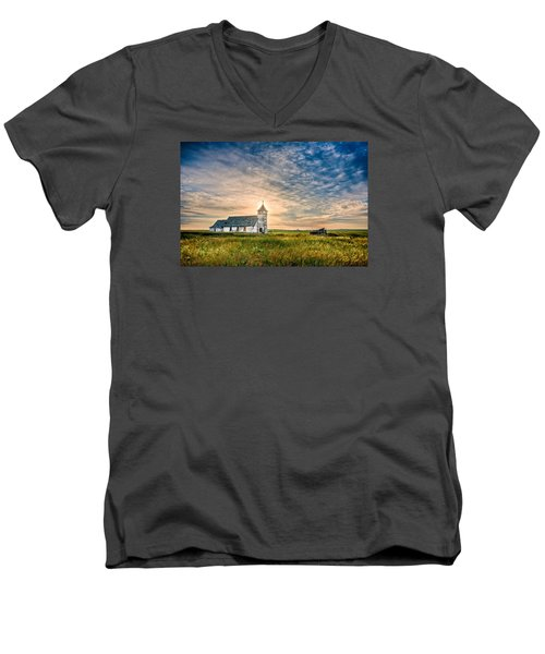 Country Church Sunrise Men's V-Neck T-Shirt