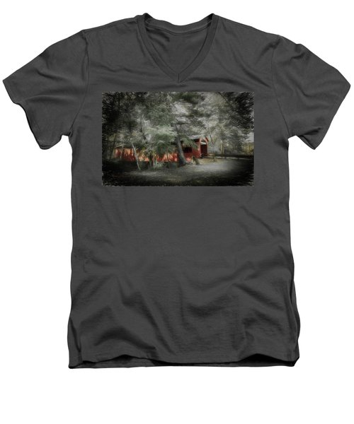 Men's V-Neck T-Shirt featuring the photograph Country Crossing by Marvin Spates