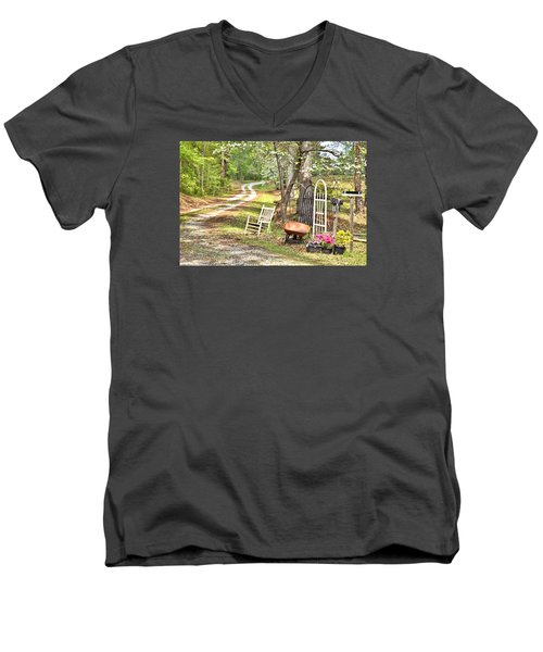 Country Driveway In Springtime Men's V-Neck T-Shirt