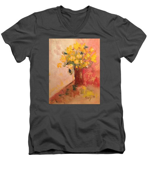 Country Flowers Men's V-Neck T-Shirt by Roxy Rich