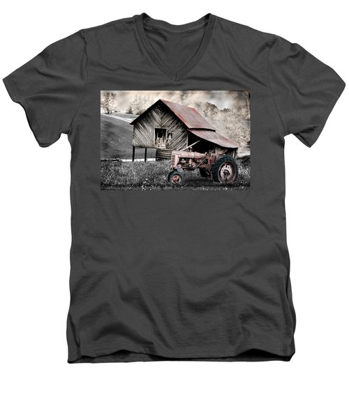 Country Men's V-Neck T-Shirt by Gray  Artus