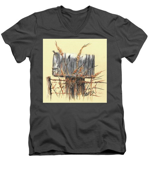 Country Mailbox In Colored Pencil Men's V-Neck T-Shirt
