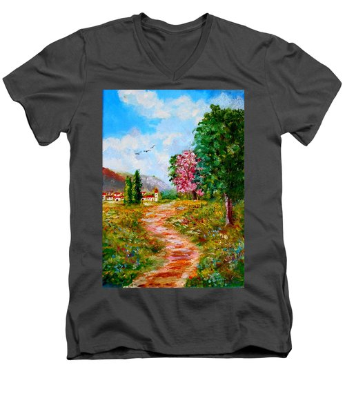 Country Pathway In Greece Men's V-Neck T-Shirt