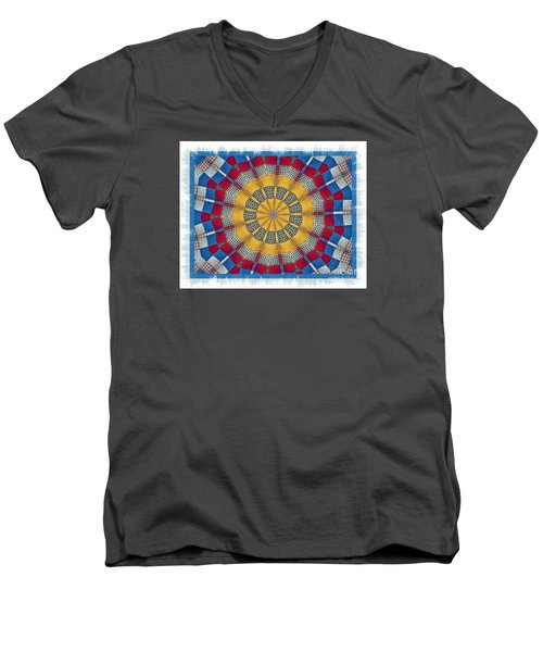 Men's V-Neck T-Shirt featuring the photograph Country Quilt Wheel by Shirley Moravec