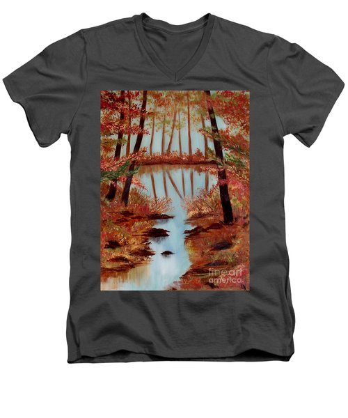 Men's V-Neck T-Shirt featuring the painting Country Reflections by Leslie Allen