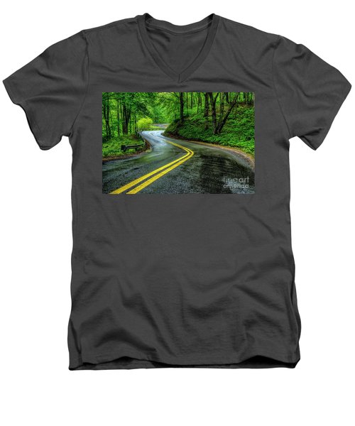 Country Road In Spring Rain Men's V-Neck T-Shirt