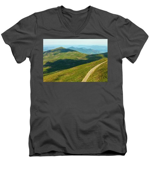 Men's V-Neck T-Shirt featuring the photograph Country Road To My Home Whiteface Mountain New York by Paul Ge