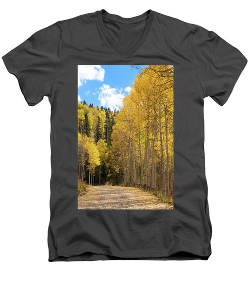 Men's V-Neck T-Shirt featuring the photograph Country Roads by David Chandler
