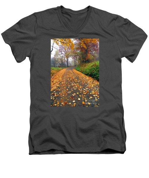 Country Roads Take Me Home Men's V-Neck T-Shirt by Thomas R Fletcher