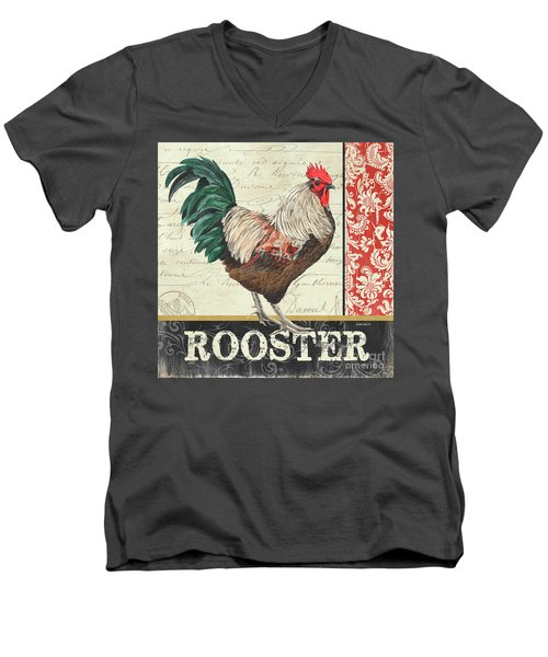Men's V-Neck T-Shirt featuring the painting Country Rooster 1 by Debbie DeWitt