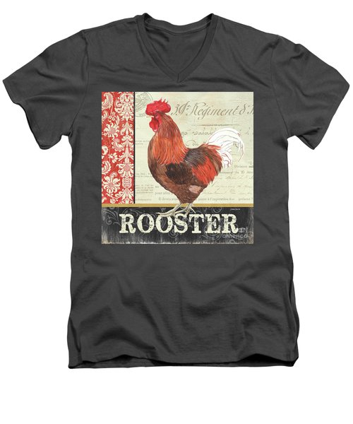 Men's V-Neck T-Shirt featuring the painting Country Rooster 2 by Debbie DeWitt