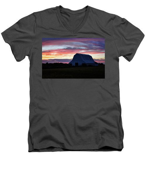 Men's V-Neck T-Shirt featuring the photograph Country Sunset by Cricket Hackmann