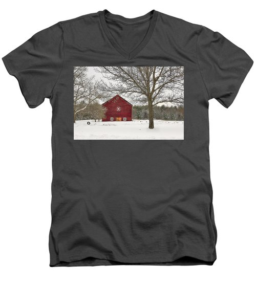 Country Vermont Men's V-Neck T-Shirt by Sharon Batdorf