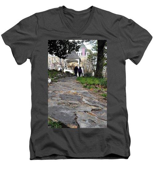Couple On A Garden Path Men's V-Neck T-Shirt