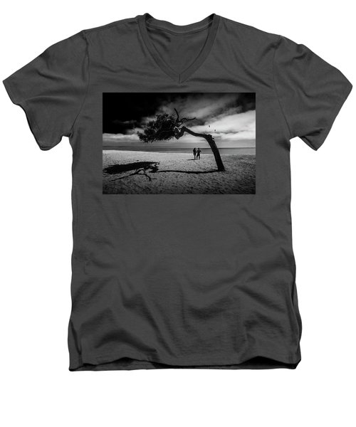 Men's V-Neck T-Shirt featuring the photograph Couple On Cabrillo Beach By Los Angeles California by Randall Nyhof