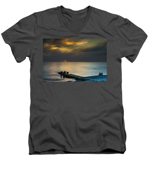 Men's V-Neck T-Shirt featuring the photograph Couple Watching Sunset by John Williams