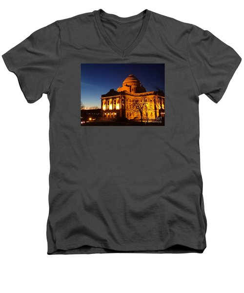 Courthouse At Night Men's V-Neck T-Shirt by Christina Verdgeline