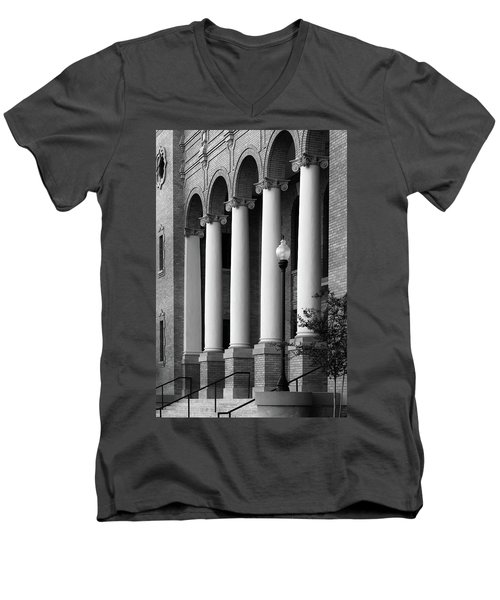 Men's V-Neck T-Shirt featuring the photograph Courthouse Columns by Richard Rizzo