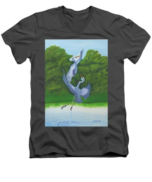 Courtship Dance Men's V-Neck T-Shirt by Mike Robles