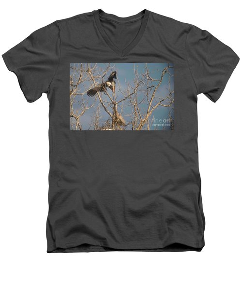 Men's V-Neck T-Shirt featuring the photograph Courtship Ritual Of The Great Blue Heron by David Bearden