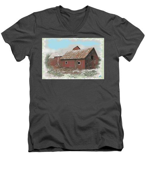 Men's V-Neck T-Shirt featuring the digital art Coventry Barn by John Selmer Sr